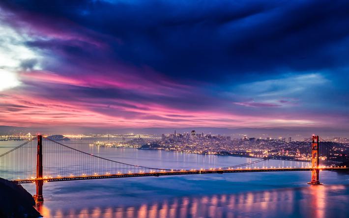 Lataa kuva 4k, Golden Gate-Silta, nightscapes, San Francisco, USA, Amerikassa