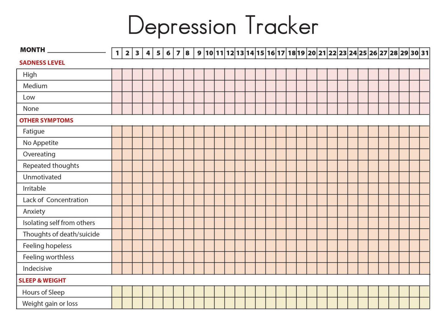 Printable Depression Symptoms Sleep Weight Tracker Diary