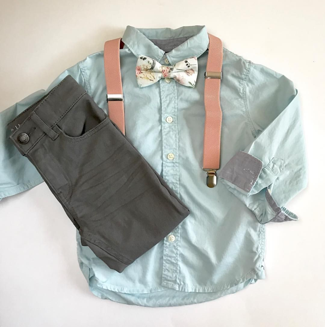 Mini Swag Textiles, Blush pink, boys bow tie and suspenders, toddler ...