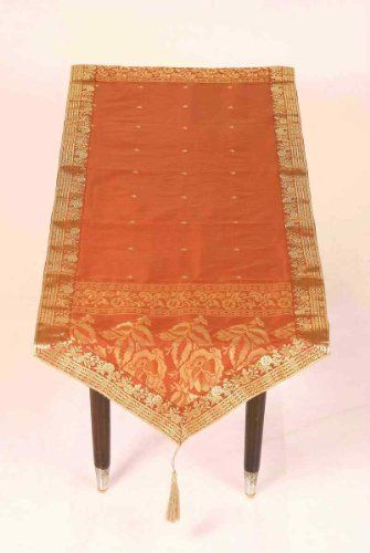 Rust Sari Table Runner Pointed Custom Made By Indian Selections - Custom dining room table runners