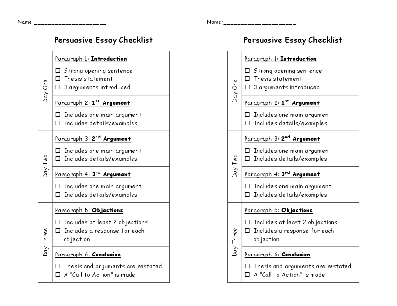 revision checklist for essays English composition 1 writing resources sample persuasive essay with sources revision checklist checklist: organization and the support and development of ideas.