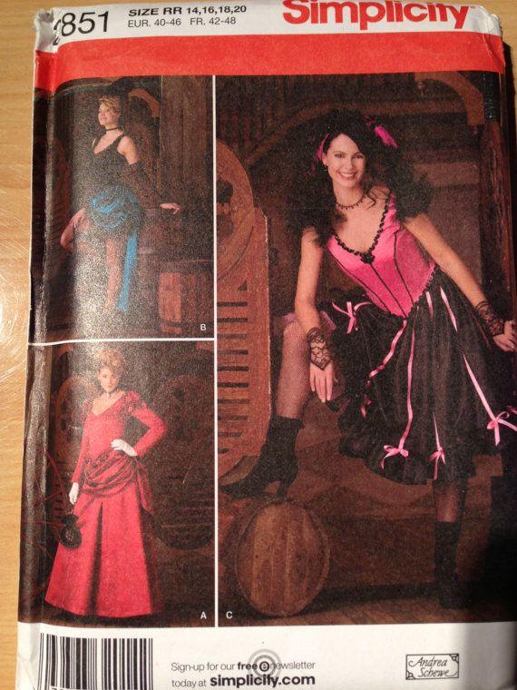 Simplicity 2852 Misses Burlesque Wild West Saloon by SplashOfLuv, $12.99