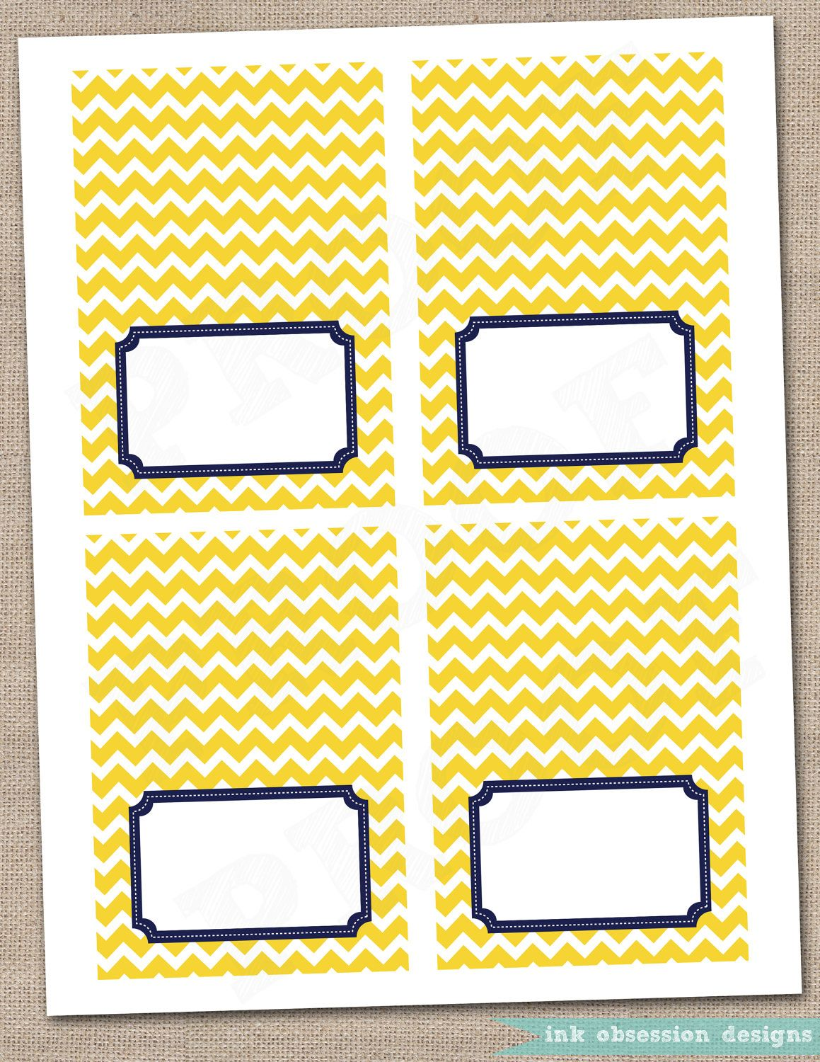 Yellow Chevron and Navy Blue Buffet Card Printable Labels Instant Download $5 00, via Etsy