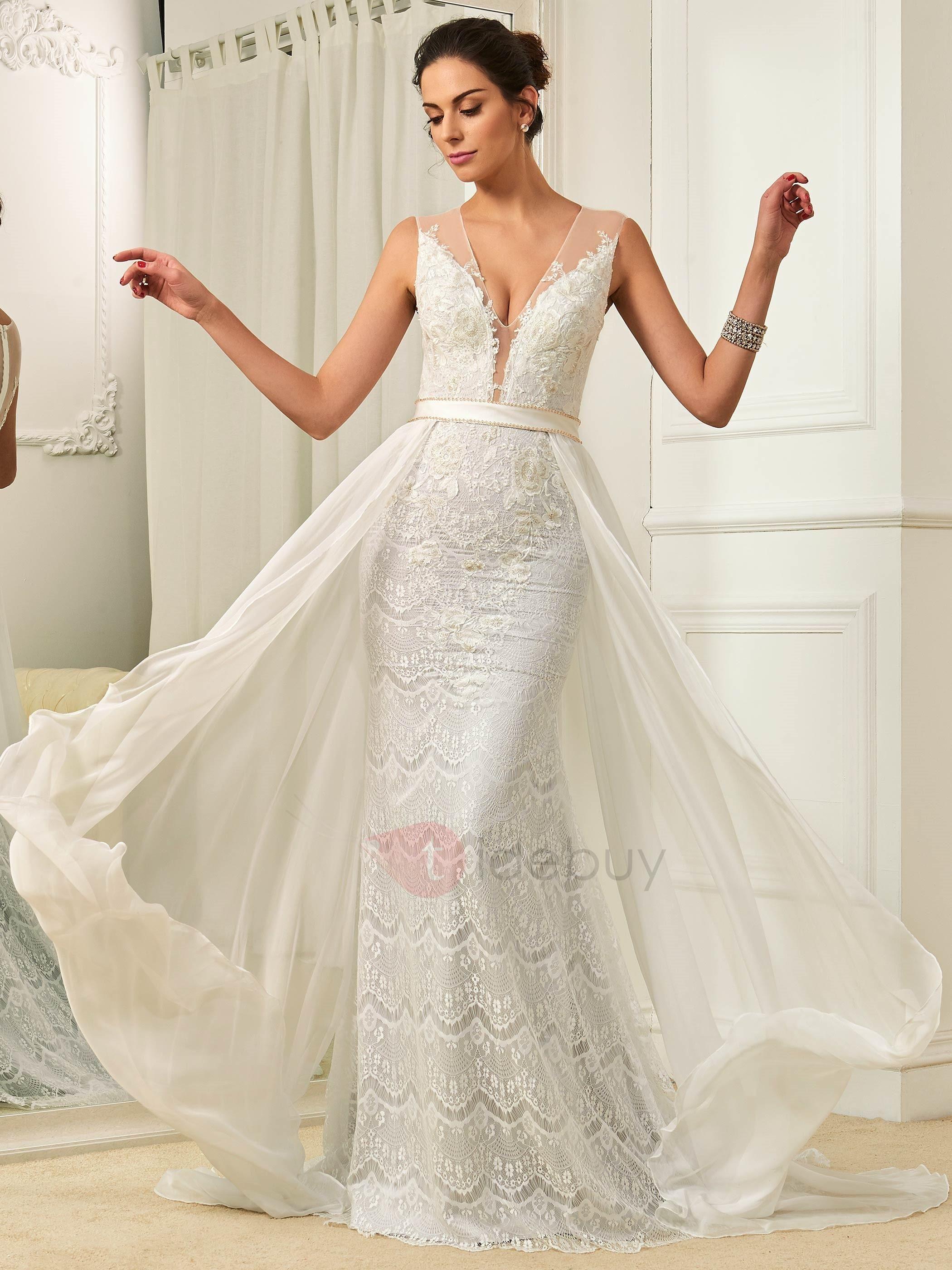 Tidebuy tidebuy fresh v neck lace mermaid watteau train wedding