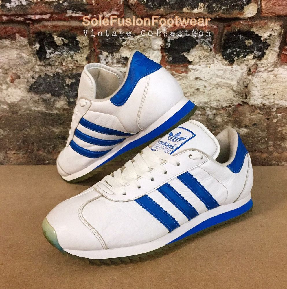 a13671233e747 adidas Country Mens Trainers White Blue sz 8 Rare VTG Ripple Sneakers US  8.5 42