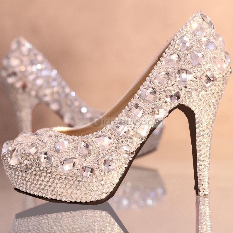 Elegant Pearls Platform Stiletto Heels Bridal Shoes Wedding Shoes Heels Womens Wedding Shoes Crystal Wedding Shoes