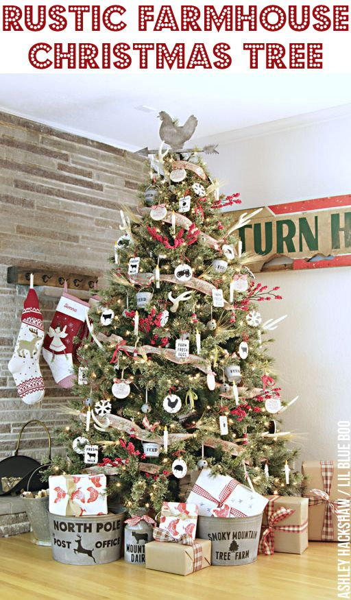 rustic farmhouse christmas tree and easy diy handmade rustic vintage ornaments makeitwithmichaels dream tree challenge 2016 michaelsmakers - Farmhouse Christmas Tree Decorations