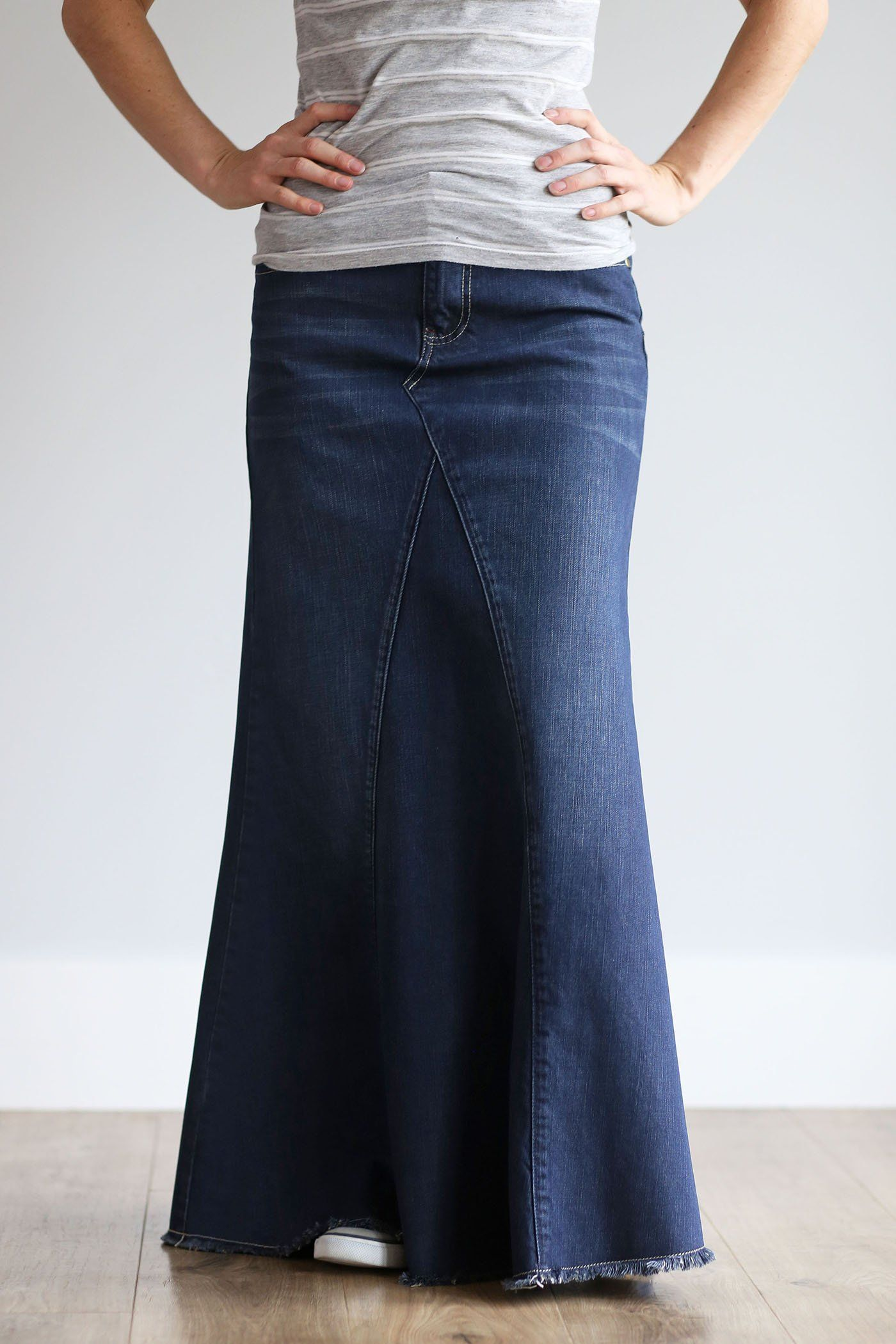 bf9f3636 'Lainey' Flattering Dark Wash Long Jean Skirt ok just bcause its long don't  make it modest! that is also tight and but grabing.. also modest Chritian  dress ...