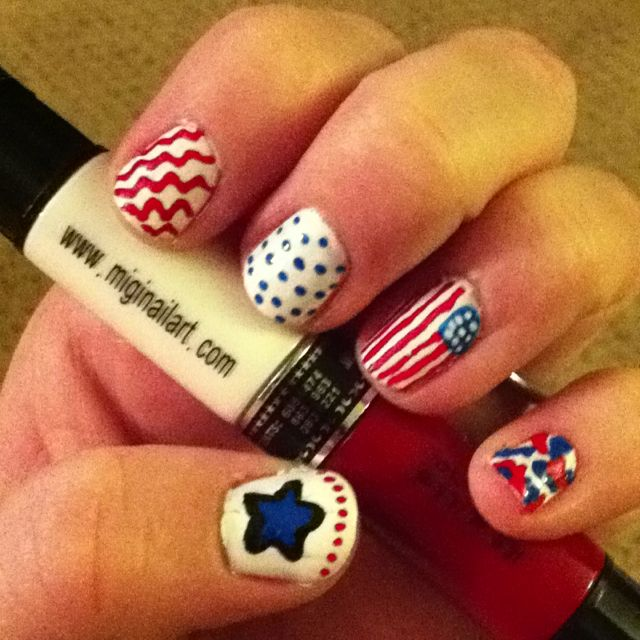 Memorial Day Nails using Migi Nail Art (miginailart.com) | Land of ...