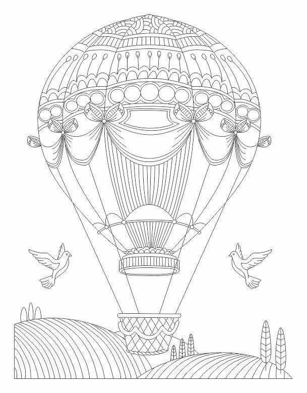 Advanced coloring hot air balloon page | Templates | Pinterest ...