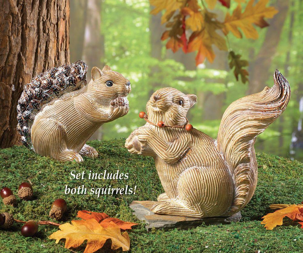 Woodland Terracotta Squirrel Statues - Set of 2, Garden Décor ...