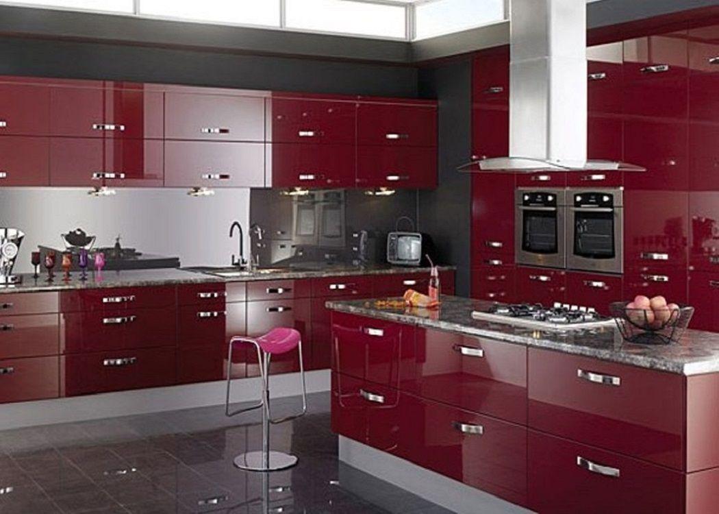 High Gloss Purple Kitchen Cabinets