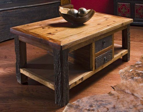 Rustic Wood Coffee Table With Drawers Reclaimed Tables
