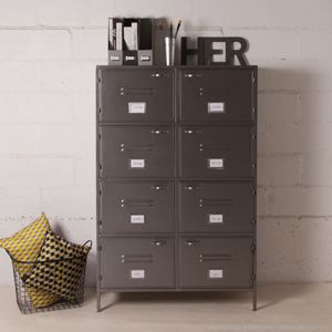 biblioth que m tallique grise 8 portes casiers decoclico factory hop on range pinterest. Black Bedroom Furniture Sets. Home Design Ideas