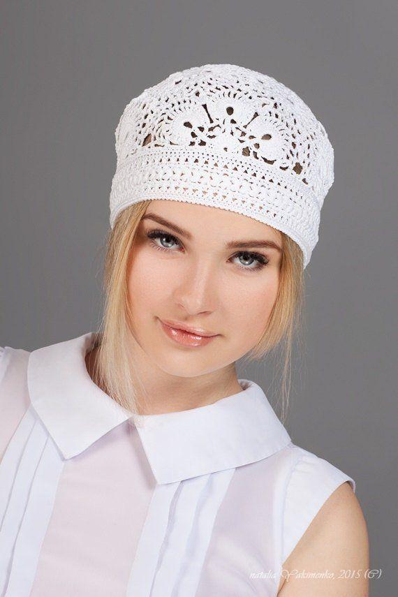 White summer hat Ladies crochet hat Summer womens hat Flower hat Ladies hat  Womens fashion Handmad 4a738b94085
