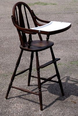 Antique Vintage Wood High Chair