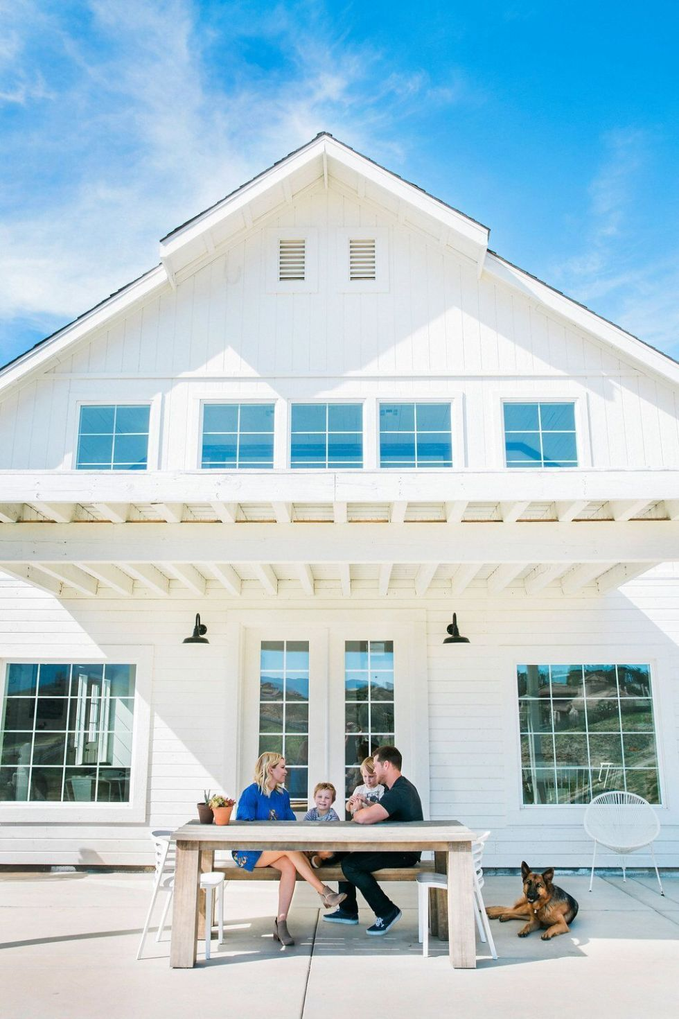 The breathtaking white barn with its many windows and clean siding is now an architectural masterpiece
