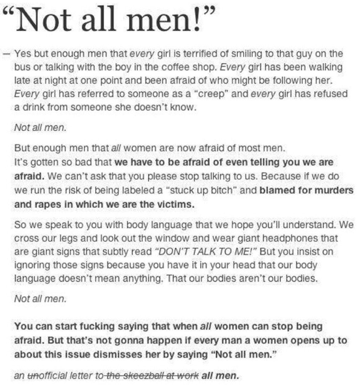 Notallmen Yesallwomen  The F Word    Feminism