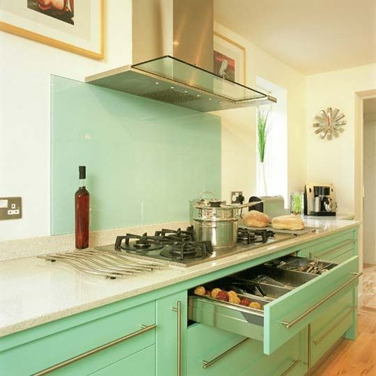 Not Only Do I Love The Seafoam Green Retro Cabinets But Tempered Gl Backsplash Talk About No Maintenance And Easy To Clean