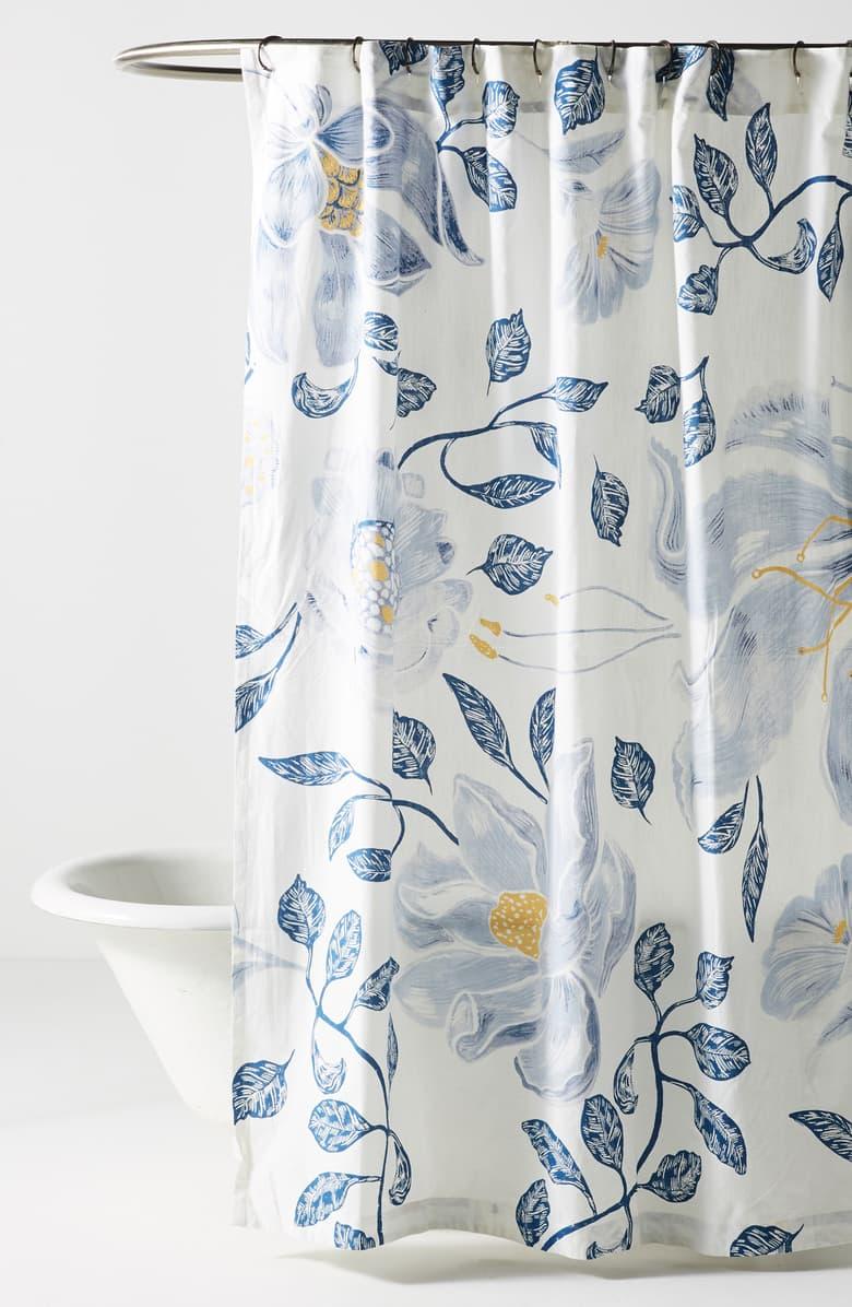 Anthropologie Catamarca Floral Shower Curtain Floral Shower