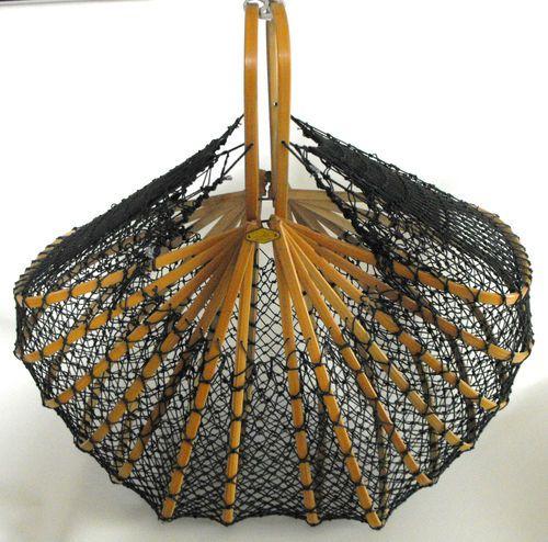 Great Vintage Japanese Retro Fishing Net Basket Folding Purse Vintage Japanese Japanese Rope Fishnet