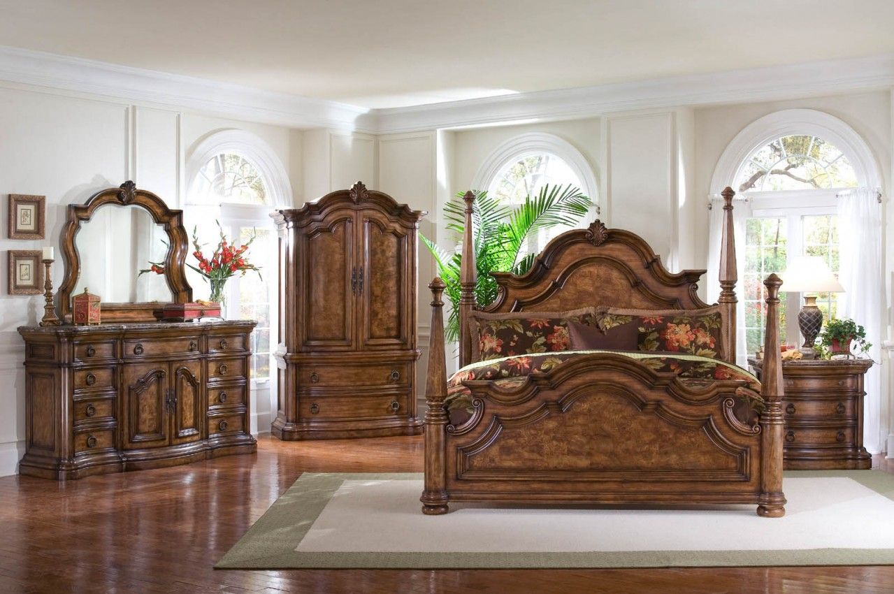 4 PC San Mateo Poster Bed Set  Poster Bed  Dresser  Mirror and Nightstand     Pulaski Furnitureashley canopy bedroom sets   Training4Green com   Interior Home  . Four Poster Bedroom Sets. Home Design Ideas