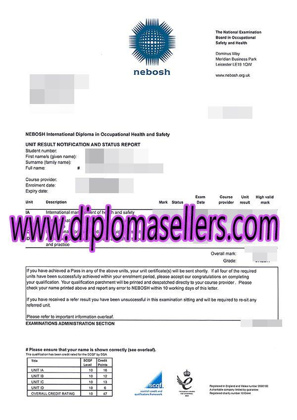 Buy Nebosh International Diploma Marksheet NEBOSH Transcript A Degree