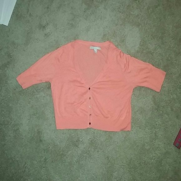 Pink/peach cardigan Cardigan with buttons. Falls to about the waist line. Very cute and comfy! Old Navy Tops Tees - Short Sleeve