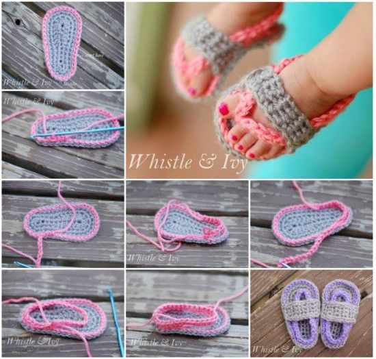 Crochet Baby Flip Flops Free Pattern Video Tutorial | Babyschühchen
