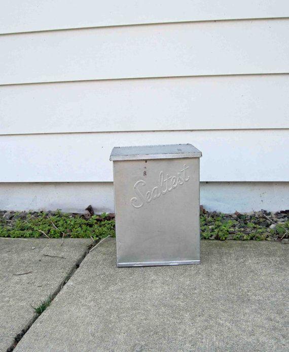 Vintage Sealtest Galvanized Metal Milk Porch Box Dairy Box Hinged Lid Box Hinges Galvanized Metal Porch Boxes