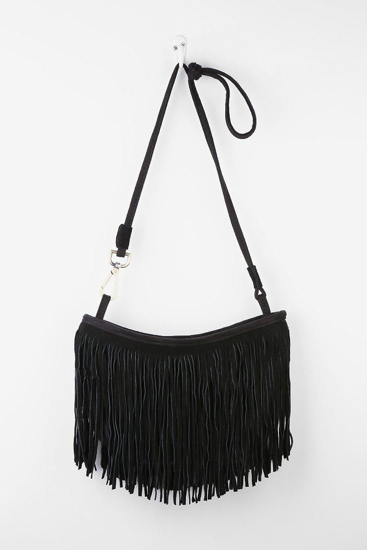 Suede Fringe Half Moon Shoulder Bag