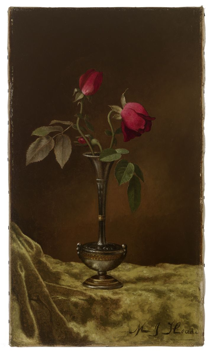 Heade, Martin Johnson American (1819-1904) Three Red Roses in a Metal Vase on Gold Velvet ca. 1883-1900 Painting oil on canvas