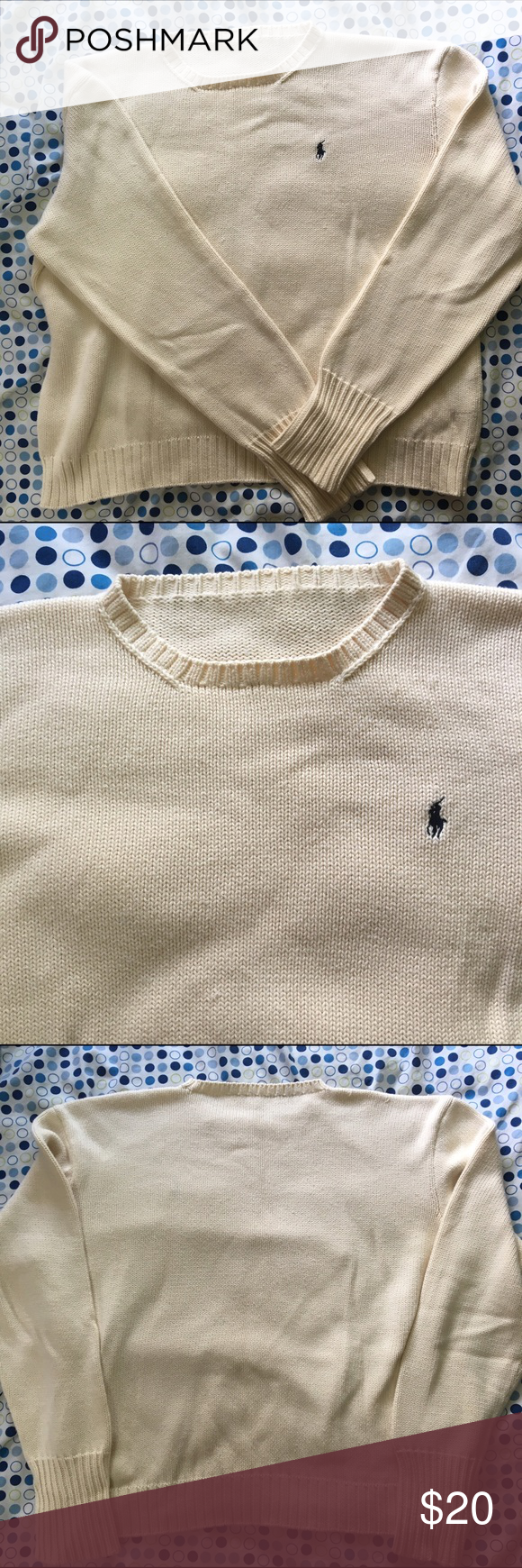 Cream Polo Knit Sweater This cream polo sweater is in good shape. No noticeable flaws. The tag has been cut out but it fits like a large. Polo by Ralph Lauren Sweaters Crew & Scoop Necks