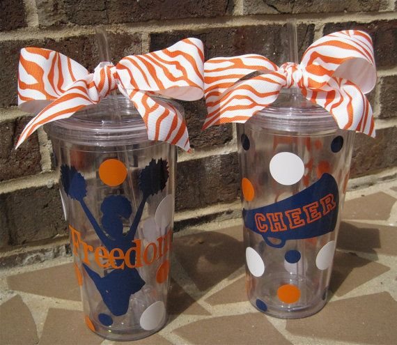 Personalized Cheerleader acrylic tumbler with lid by ...