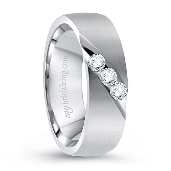 14k White Gold Bazel Set Diamond Wedding Ring Mens Wedding Rings Mens Diamond Wedding Bands Diamond Wedding Bands