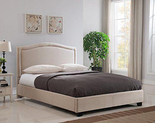 Mantua Annapolis Upholstered Platform Bed (King, Taupe) bedroom