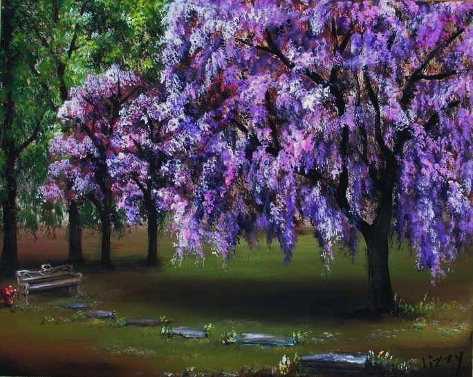 Bench Under The Cherry Trees Tree Cherry Tree Wisteria Garden