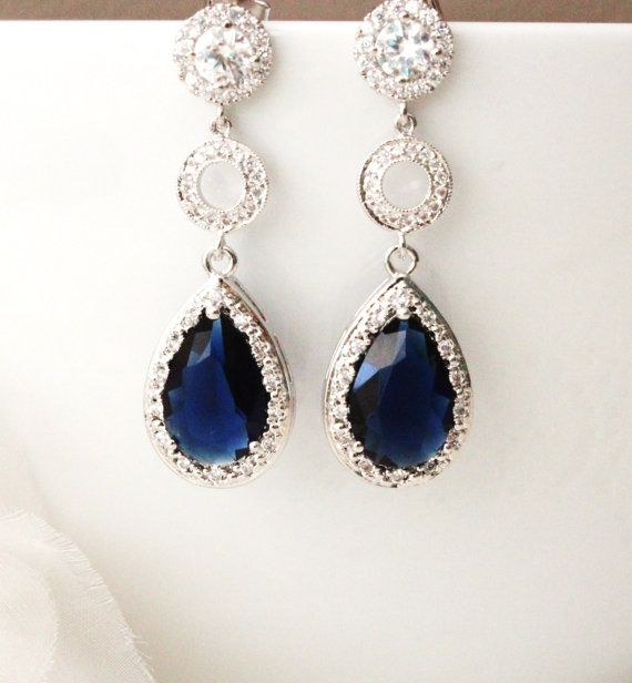 Blue Wedding Earrings Blue Bridal Earrings Wedding Jewelry Sapphire