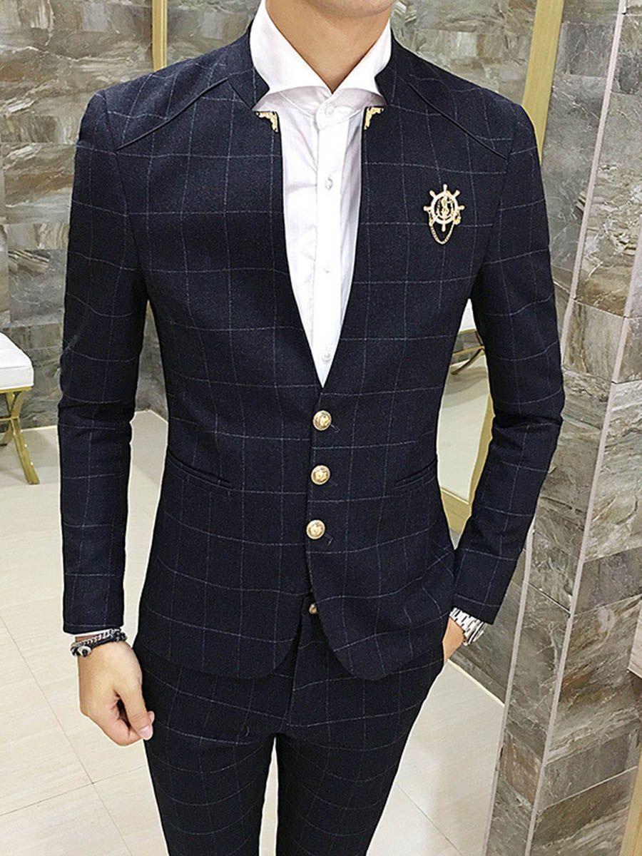 Tidebuy Solid Color Plaid Men S Slim Fit Suit Slim Fit Suit Men