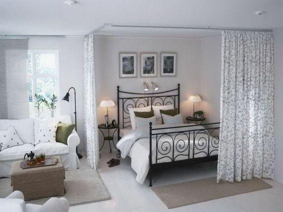 offener wohnplan kleines schlafzimmer einrichten raumtrenner ...