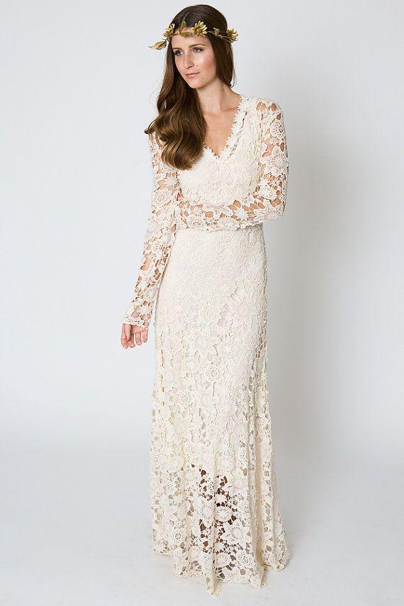 Vintageinspired Ivory Lace Crochet Sheer Simple By Dreamersla Long Sleeve Wedding Dress Boho Crochet Wedding Dresses Wedding Dresses Lace