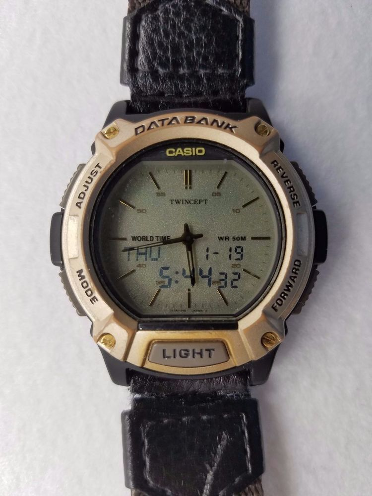 8b0aa9666bc8 Men s Casio Databank Digital analog sports watch works well  1359-ABX-68   Casio