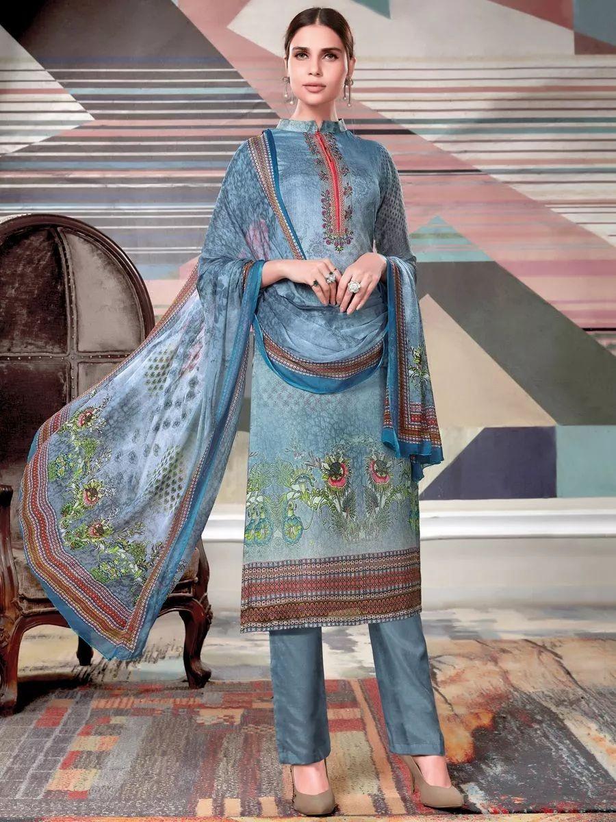 07ae37556e Maya Blue Crepe Georgette Casual Printed Pant Kameez | Elegant Pant ...