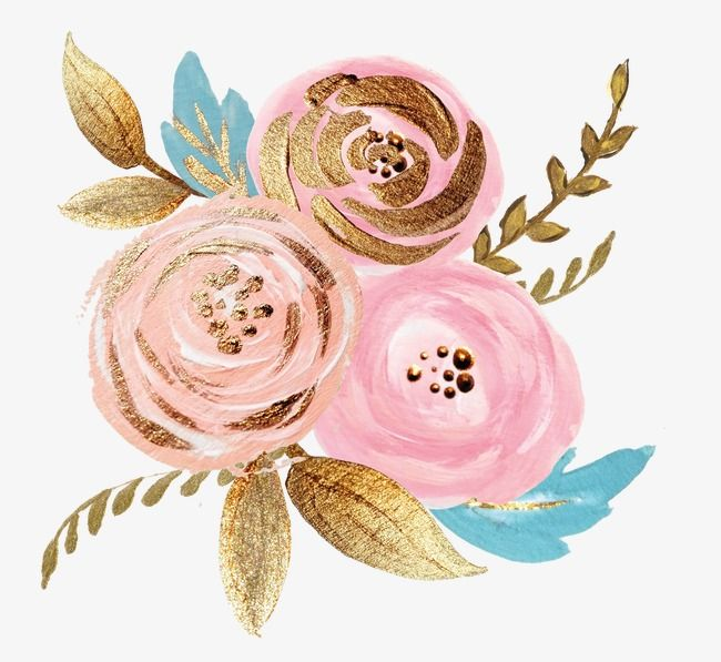 Golden Foil Painting Canola Flowers Pink Flowers Golden Gold Pink Flowers Png Transparent Clipart Image And Psd File For Free Download Pink Flower Painting Flower Painting Floral Painting