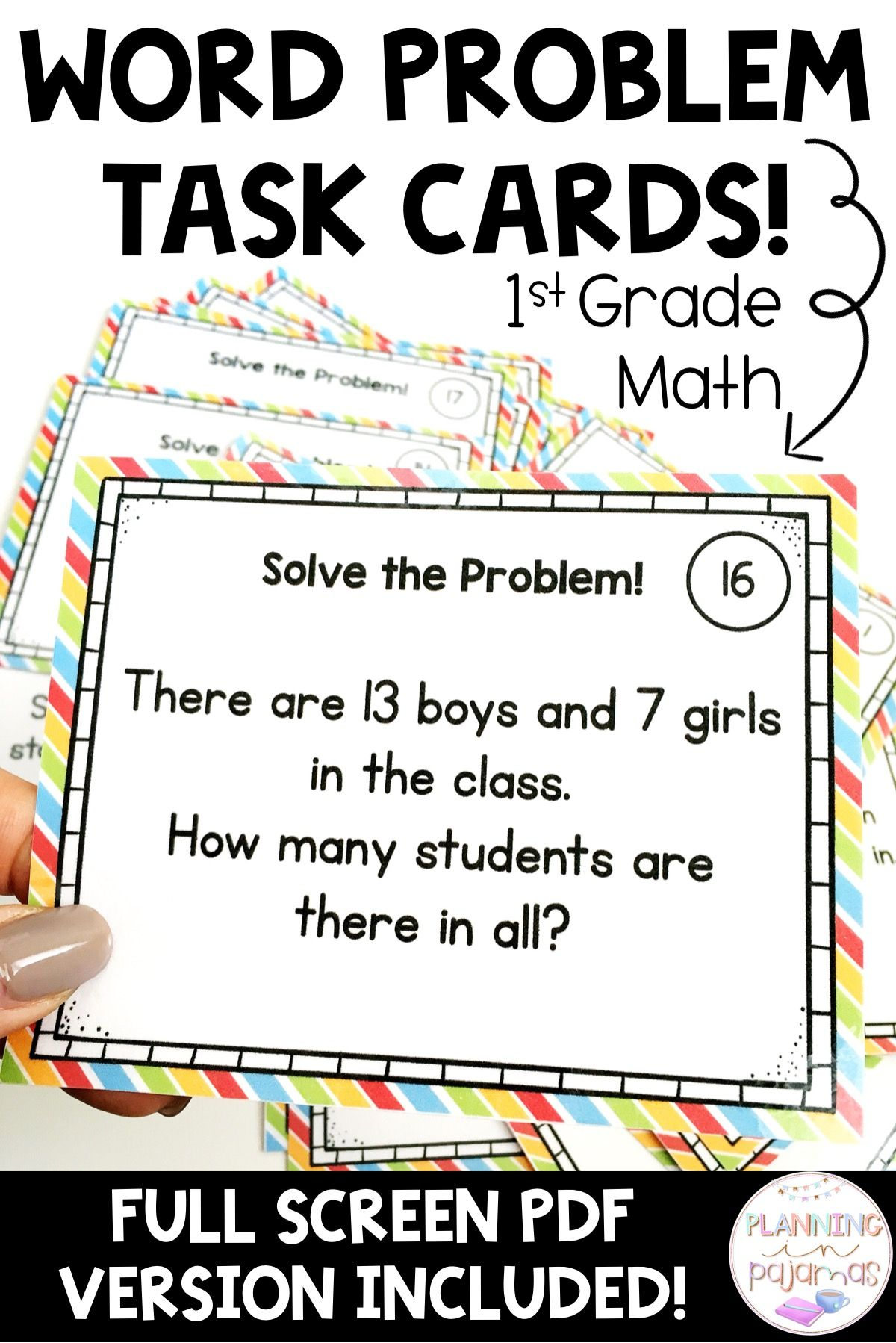 Word Problem Solving Task Cards Grade 1 Math Addition