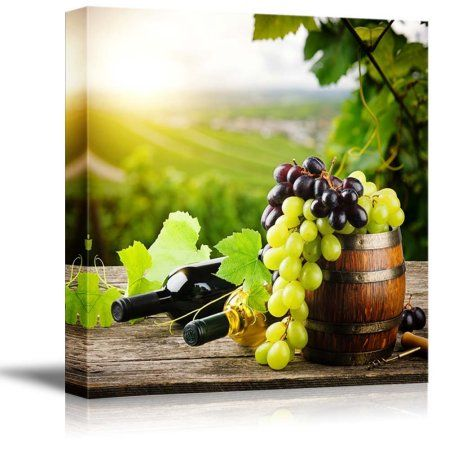 Canvas Prints Wall Art - Bottles of red and white wine with fresh ...