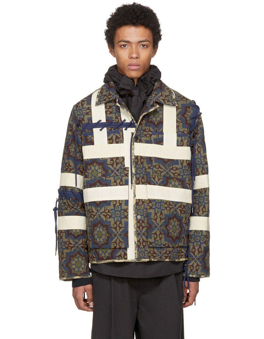 CRAIG GREEN Tan & Navy Block Print Jacket   Print jacket
