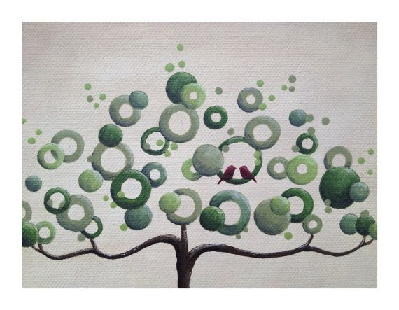 Abstract modern wedding tree painting on by LittleSparrowGallery