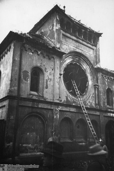 The Morning after the Night of Broken Glass [Kristallnacht] in Munich: The Destroyed Synagogue on Reichenbachstrasse in Munich (November 10, 1938)