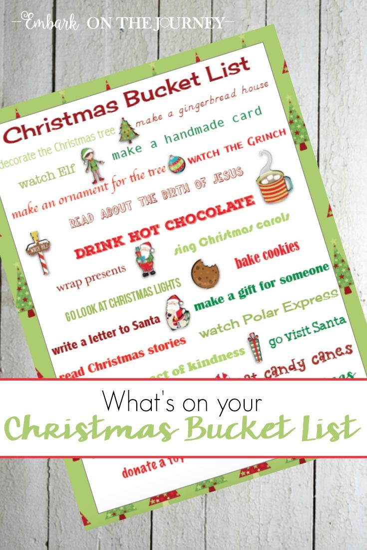whats on your christmas bucket list print this one and see if your family can do everything on the list before 1225 embarkonthejourneycom via